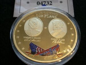 HEROES AND FLAGS OF THE CIVIL WAR COMMEMORATIVE COIN   GRANT & LEE