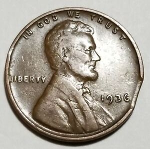 1936   LARGE CURVED CLIP   LINCOLN WHEAT CENT MINT ERROR LOT 5046