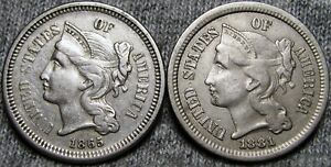1865 1881 COPPER NICKEL THREE CENT PIECE 3CP       NICE TYPE COIN LOT      P063