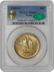 Click now to see the BUY IT NOW Price! 1935 S TEXAS 50C 939064 1 MS67  SECURE PLUS PCGS   CAC