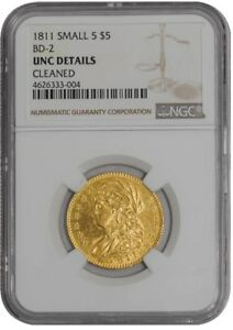 1811 $5 GOLD CAPPED BUST SMALL 5 BD 2 938246 35 UNC DETAILS NGC