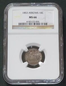 Click now to see the BUY IT NOW Price! 1853 10C ARROWS LIBERTY SEATED DIME NGC MS66    PREMIUM     23 005