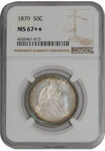 Click now to see the BUY IT NOW Price! 1879 SEATED LIBERTY HALF 50C 938538 1 MS67   COLOR NGC