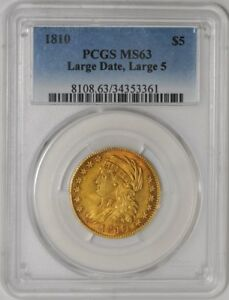 1810 $5 GOLD CAPPED BUST LARGE DATE LARGE 5 938654 3 MS63 PCGS