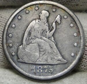 1875 CC TWENTY CENT PIECE 20 CENTS    NICE COIN .  6518