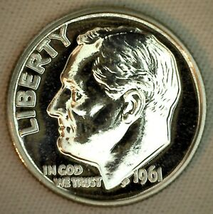 1961 SILVER PROOF ROOSEVELT DIME TEN CENT COIN 10C UNITED STATES 10 CENTS