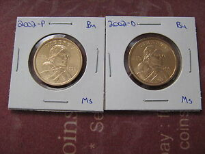 2002 PD SACAGAWEA GOLDEN DOLLARS  2  COINS FROM MINT SET AA1