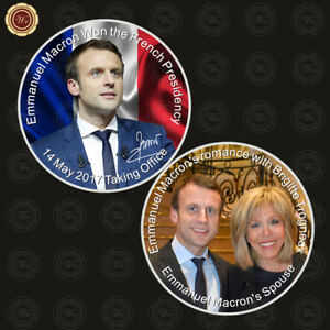 FRENCH PRESIDENT EMMANUEL MACRON COMMEMORATIVE COIN SILVER PLATED METAL FREE BOX