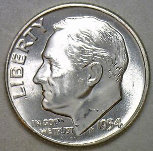 1954 SILVER UNCIRCULATED BU ROOSEVELT DIME TEN CENT COIN FROM NICE 10C ROLL R
