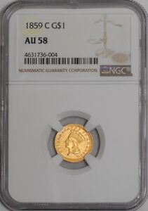 Click now to see the BUY IT NOW Price! 1859 C $ GOLD INDIAN DOLLAR 939359 7 AU58 NGC