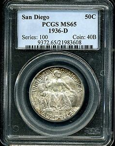 1936 D 50C SAN DIEGO COMMEMORATIVE HALF DOLLAR MS65 PCGS 21983608