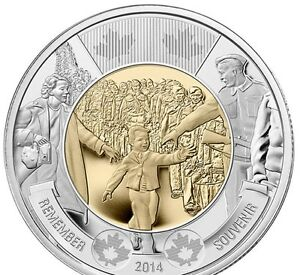 CANADA 2014 2 DOLLAR TOONIE WAIT FOR ME DADDY COMMEMORATIVE MINT