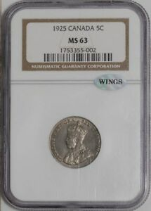 Click now to see the BUY IT NOW Price! 1925 CANADA 5C 939560 10 MS63 NGC   WINGS