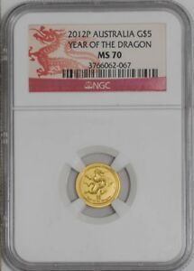 2012P AUSTRALIA GOLD $5 YEAR OF THE DRAGON 939490 2 MS70 NGC