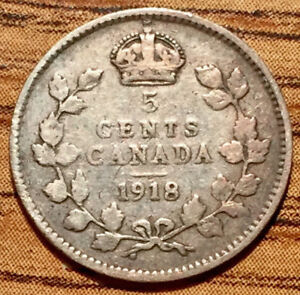 1918 SILVER CANADA 5 CENTS KING GEORGE V COIN