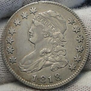 1818 CAPPED BUST QUARTER 25 CENTS    KEY DATE NICE COIN .  5213