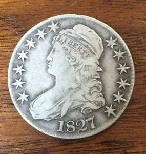 1827 CURLED 2 CAPPED BUST HALF DOLLAR VF