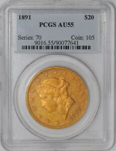 Click now to see the BUY IT NOW Price! 1891 $20 GOLD LIBERTY 939270 9 AU55 PCGS