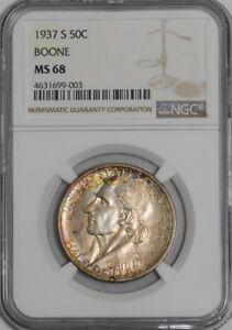 Click now to see the BUY IT NOW Price! 1937 S BOONE 50C 939383 28 MS68 NGC