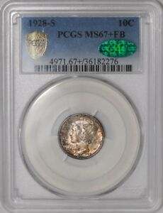 Click now to see the BUY IT NOW Price! 1928 S MERCURY DIME 10C 938797 4 MS67  FB SECURE PLUS PCGS   CAC