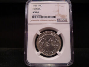 1935 MS64 HUDSON SILVER COMMEMORATIVE NGC CERTIFIED   WHITE/SUPER NICE