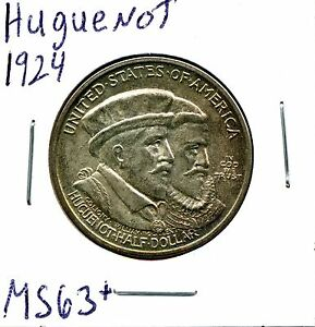 1924 50C HUGUENOT SILVER COMMEM HALF DOLLAR IN SELECT UNCIRCULATED CONDITION