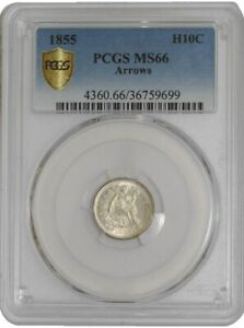 Click now to see the BUY IT NOW Price! 1855 SEATED LIBERTY HALF DIME H10C ARROWS 941230 1 MS66 SECURE PLUS PCGS