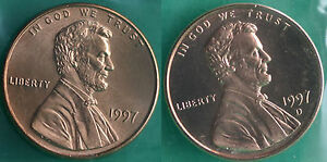 1997 P AND D LINCOLN CENT 2 COIN FROM US MINT SET UNC CELLO ONE CENT PENNY SET