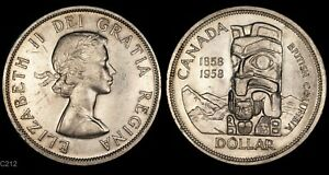 Click now to see the BUY IT NOW Price! 1958 CANADA DOLLAR  BRITISH COLUMBIA TOTEM  WORLD SILVER COIN