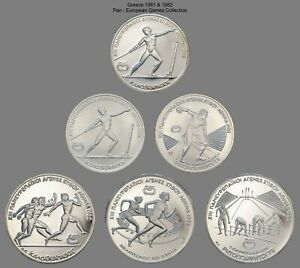 Click now to see the BUY IT NOW Price! 1981/82 GREECE 250 & 500 DRACHMAI  PAN EUROPEAN GAMES  6 WORLD SILVER COINS