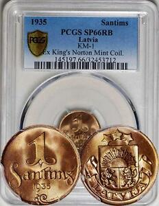 Click now to see the BUY IT NOW Price! LATVIA 1935 PROOF SANTIMS PCGS SP 66 RB   KING'S NORTON MINT