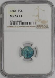 Click now to see the BUY IT NOW Price! 1865 THREE CENTS 3CS 938850 1 MS67   COLOR NGC