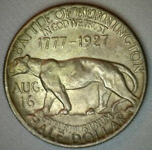 1927 EARLY COMMEMORATIVE FOUNDER OF VERMONT SILVER HALF DOLLAR BATTLE BENNINGTON