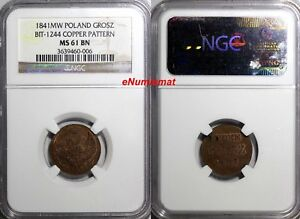 Click now to see the BUY IT NOW Price! RUSSIA POLAND 1841 MW  1 GROSZ PATTERN NGC MS61 BN BIT 1244 R3