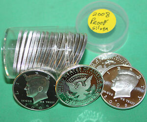 Click now to see the BUY IT NOW Price! 2008 S 90  SILVER PROOF KENNEDY HALF DOLLAR ROLL 20 COINS 50C FROM US PROOF SETS