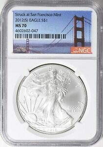 2012 S  AMERICAN SILVER EAGLE STRUCK AT SAN FRANCISCO NGC MS70  GG BRIDGE LABEL