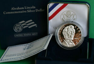 2009 ABRAHAM LINCOLN PROOF COMMEMORATIVE 90  SILVER DOLLAR COIN WITH BOX AND COA
