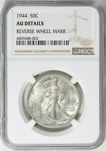 Click now to see the BUY IT NOW Price! 1944 WALKING LIBERTY HALF DOLLAR 50C ERROR REVERSE WHEEL MARK NGC AU DETAILS