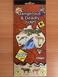 AUSTRALIAN DANGEROUS & DEADLY STICKERS 140  STICKERS 4 SHEETS