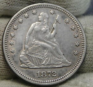 1872 SEATED LIBERTY QUARTER 25 CENTS    KEY DATE 182 950 MINTED  8282