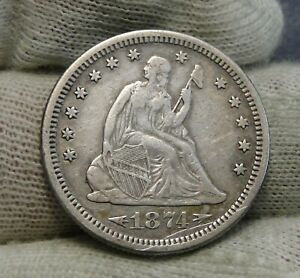 1874S SEATED LIBERTY QUARTER 25 CENTS   KEY DATE 392 0000 MINTED NICE  8289