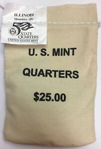 Click now to see the BUY IT NOW Price! 2003 D ILLINOIS US MINT SEALED BAG OF QUARTERS $25 FACE VALUE BU