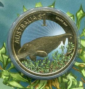 AUSTRALIA SHARK BAY COMMEMORATIVE COLORED $1 COIN YEAR 2010 WORLD HERITAGE SITE