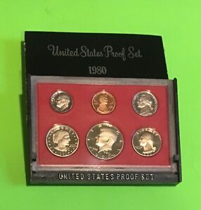 1980S US PROOF SET   DOLLAR HALF QUARTER DIME NICKEL PENNY