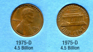 1975 D ABE LINCOLN MEMORIAL AMERICAN PENNY 1 CENT US U.S AMERICA ONE COIN B1
