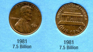 1981 P ABE LINCOLN MEMORIAL AMERICAN PENNY 1 CENT US U.S AMERICA ONE COIN B1