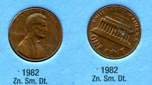 1982 P LINCOLN MEMORIAL SMALL DATE ZINC PENNY 1 CENT US AMERICA ONE COIN B1
