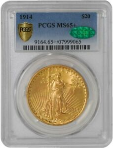 1914 $20 SAINT GAUDENS 941687 2 MS65  SECURE PLUS PCGS   CAC