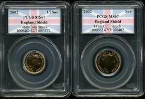 Click now to see the BUY IT NOW Price! UK 2002 SOV & 1/2 SOV GOLDEN JUBILEE MS67 PCGS ENGLAND SHIELD 1ST STRIKE