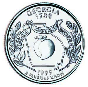 1999 P GEORGIA STATE QUARTER CIRCULATED COIN CLAD. FINISH YOUR COIN BOOK 0084
